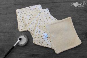 Lot de 5 lingettes démaquillantes lavables en micro éponge de coton écolabellisé – Étoiles dorées