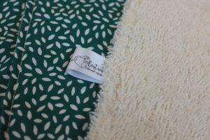 Lot de 5 feuilles d'essuie tout lavables en éponge de coton écolabellisé – Grain riz vert canard – avec ou sans boutons pressions