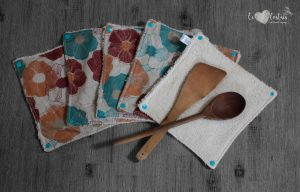 Lot de 5 feuilles d'essuie tout lavables en éponge de coton écolabellisé – Fleur vintage – avec boutons pressions