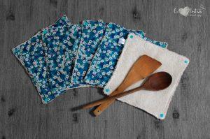 Lot de 5 feuilles d'essuie tout lavables en éponge de coton écolabellisé – Liberty Mitsi – avec boutons pressions