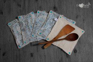 Lot de 5 feuilles d'essuie tout lavables en éponge de coton écolabellisé – Liberty Adelajda – avec boutons pressions