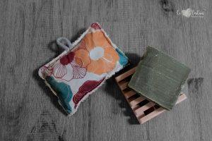 Éponge lavable en éponge de coton, rembourrage : upcycling de chute de tissus – Fleurs vintage