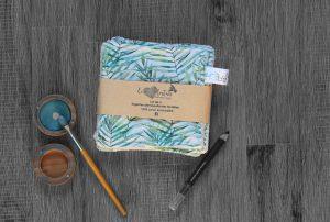Lot de 5 lingettes démaquillantes lavables en micro éponge de coton écolabellisé – Feuilles bambou