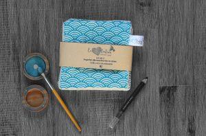 Lot de 5 lingettes démaquillantes lavables en micro éponge de coton écolabellisé – Sekai bleu clair