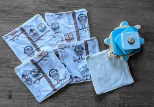 Lot de 5 débarbouillettes en micro éponge de coton écolabellisé – hiboux