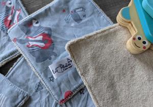 Lot de 5 débarbouillettes en micro éponge de coton écolabellisé – ours rockstar