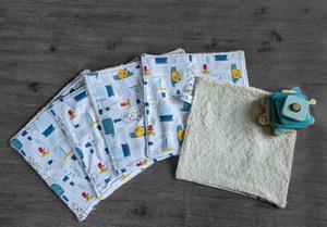 Lot de 5 feuilles d'essuie tout lavables en éponge de coton écolabellisé – poissons – avec ou sans boutons pressions (Copie)