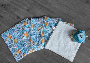 Lot de 5 feuilles d'essuie tout lavables en éponge de coton écolabellisé – écureils- avec ou sans boutons pressions