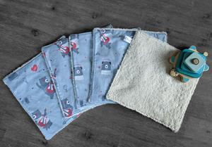 Lot de 5 feuilles d'essuie tout lavables en éponge de coton écolabellisé – ours rockstar – avec ou sans boutons pressions