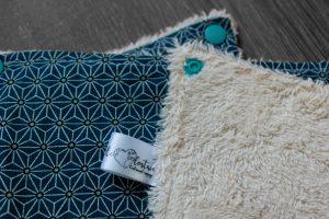 Lot de 5 feuilles d'essuie tout lavables en éponge de coton écolabellisé – sakis origamis- avec boutons pressions