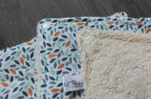 Lot de 5 feuilles d'essuie tout lavables en éponge de coton écolabellisé – grain riz vert orange – avec boutons pressions