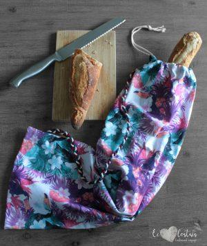 Sac à pain avec bandoulière – 10 – toucan  fleurs et ananas