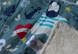 Lot de 5 feuilles d'essuie tout lavables en éponge de coton écolabellisé – Tattoo gris- avec boutons pression