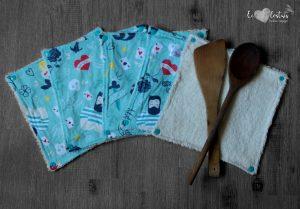 Lot de 5 feuilles d'essuie tout lavables en éponge de coton écolabellisé – Tattoo Celadon – avec boutons pressions