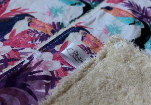 Lot de 5 feuilles d'essuie tout lavables en éponge de coton écolabellisé – Toucans – avec boutons pressions