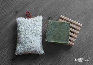 Éponge double-face coton lavable, rembourrage : upcycling de chute de tissus – double face