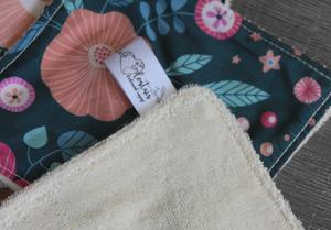 Lot de 5 lingettes démaquillantes lavables en micro éponge de coton écolabellisé – bleu gris fleurs roses feuilles bleues