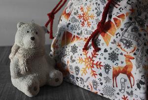 Pochette cadeau Noël – Golden deers- Taille L (39x36cm)