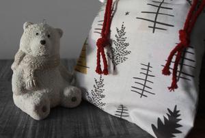 Pochette cadeau Noël – Gold forest- Taille L (39x36cm)