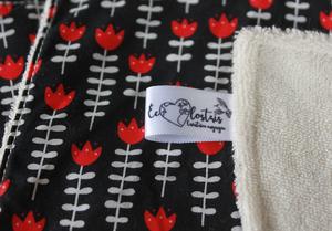 Coffret cadeau salle de bain – Tulipes rouges fond noir
