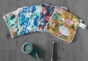 Lot de 5 lingettes démaquillantes lavables en micro éponge de coton écolabellisé – multicolore