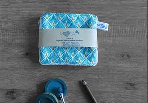 Lot de 5 lingettes démaquillantes lavables en micro éponge de coton écolabellisé – écailles turquoise