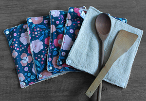 Lot de 5 feuilles d'essuie tout lavables en éponge de coton écolabellisé – Bleu gris fleuri rose