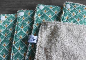 Lot de 5 feuilles d'essuie tout lavables en éponge de coton écolabellisé – Écailles turquoise – avec boutons pression