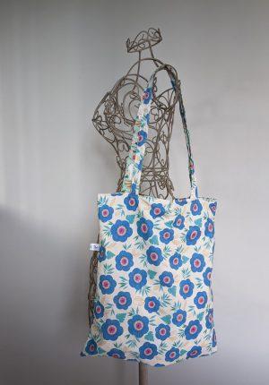 Tote bag réversible – Vert d'eau & Grosses fleurs bleues